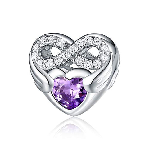 925 Sterling Silver CZ Infinite Love Heart Charm with Purple Heart Wings Forever Love Infinity Bead fit for Women
