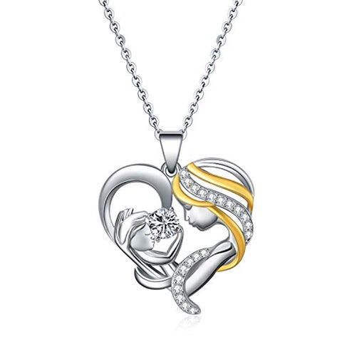 Silver Madonna and Child Necklace with Heart Swarovski Crystals