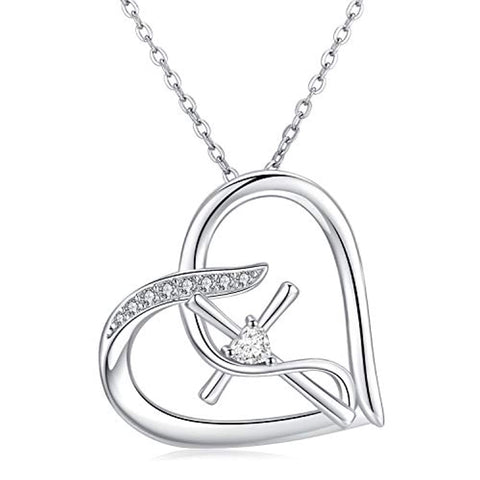 ilver Love Heart Infinity Cross Pendant Necklace