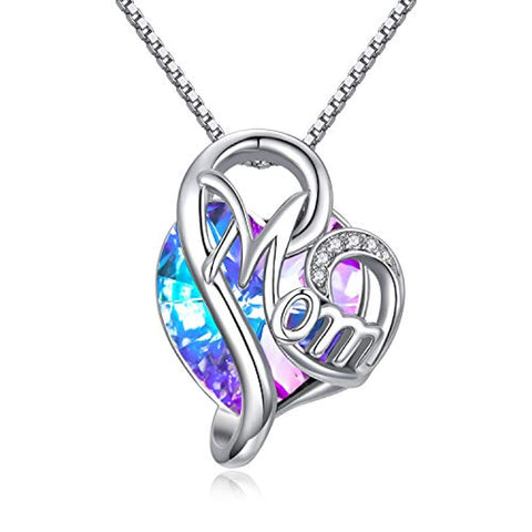 Silver Heart Mom Necklace Purple Crystal