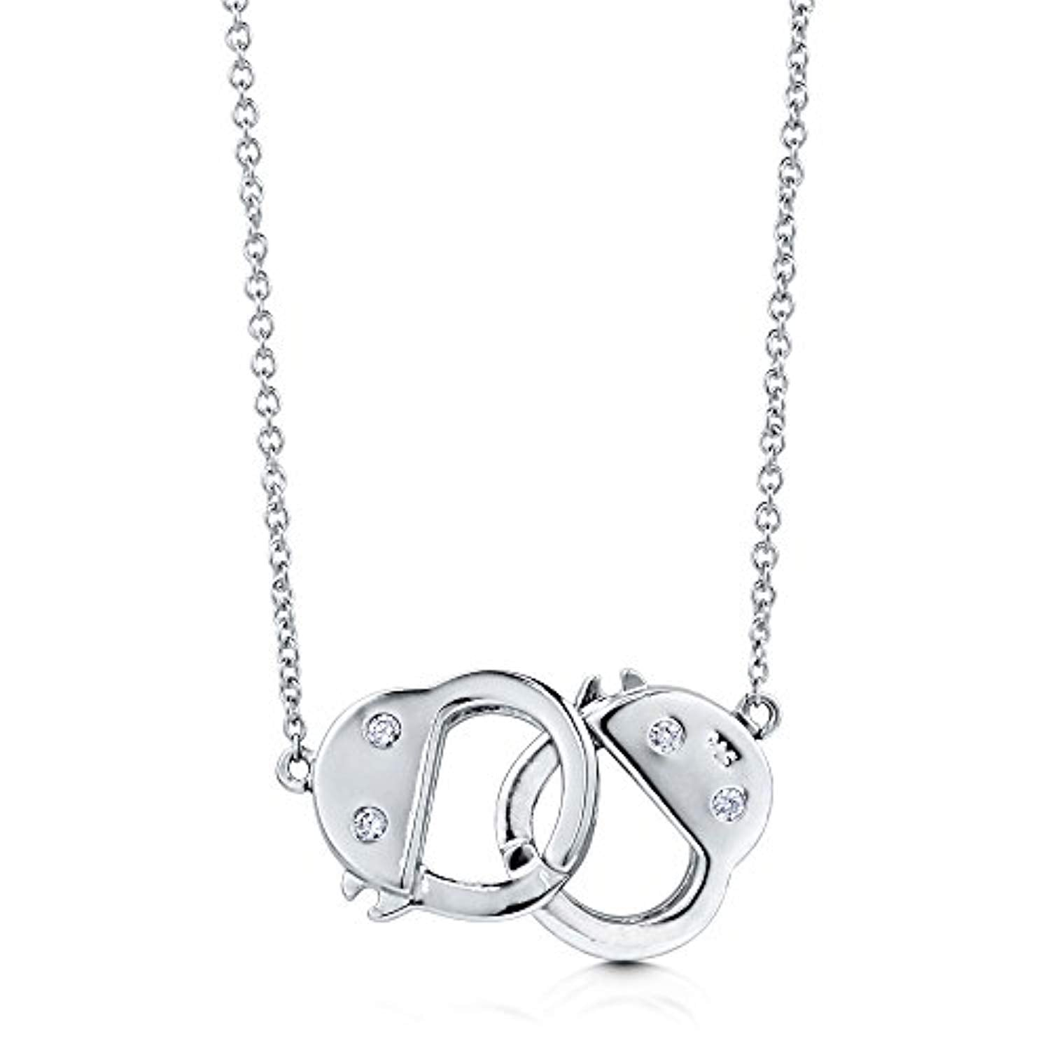 Silver CZ Handcuffs Pendant Necklace