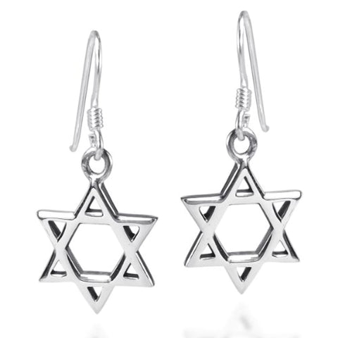 Silver Star Fish Hook Earrings