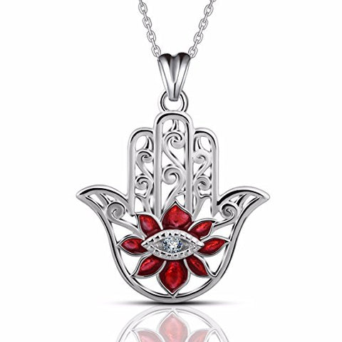 925 Sterling Silver Ruby Stone Hamsa Necklace Good Luck Vintage Fatima Hand Evil Eye Pendant Necklace