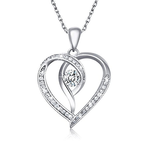 Silver  Love Heart Pendant Only You Cubic Zirconia White Gold Plated Necklace