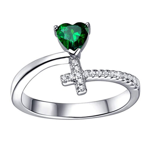 925 Sterling Silver Created Emerald Heart Cross Promise Ring