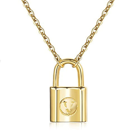 Silver Gold Lock Pendant Necklace