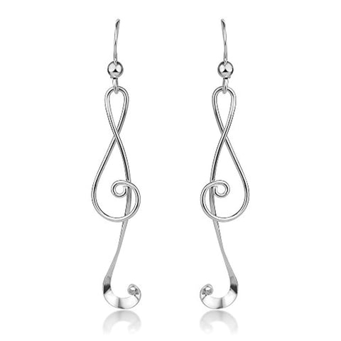 Treble G Clef Musical Note Music Lover Curvy Design Dangle Hook Earrings
