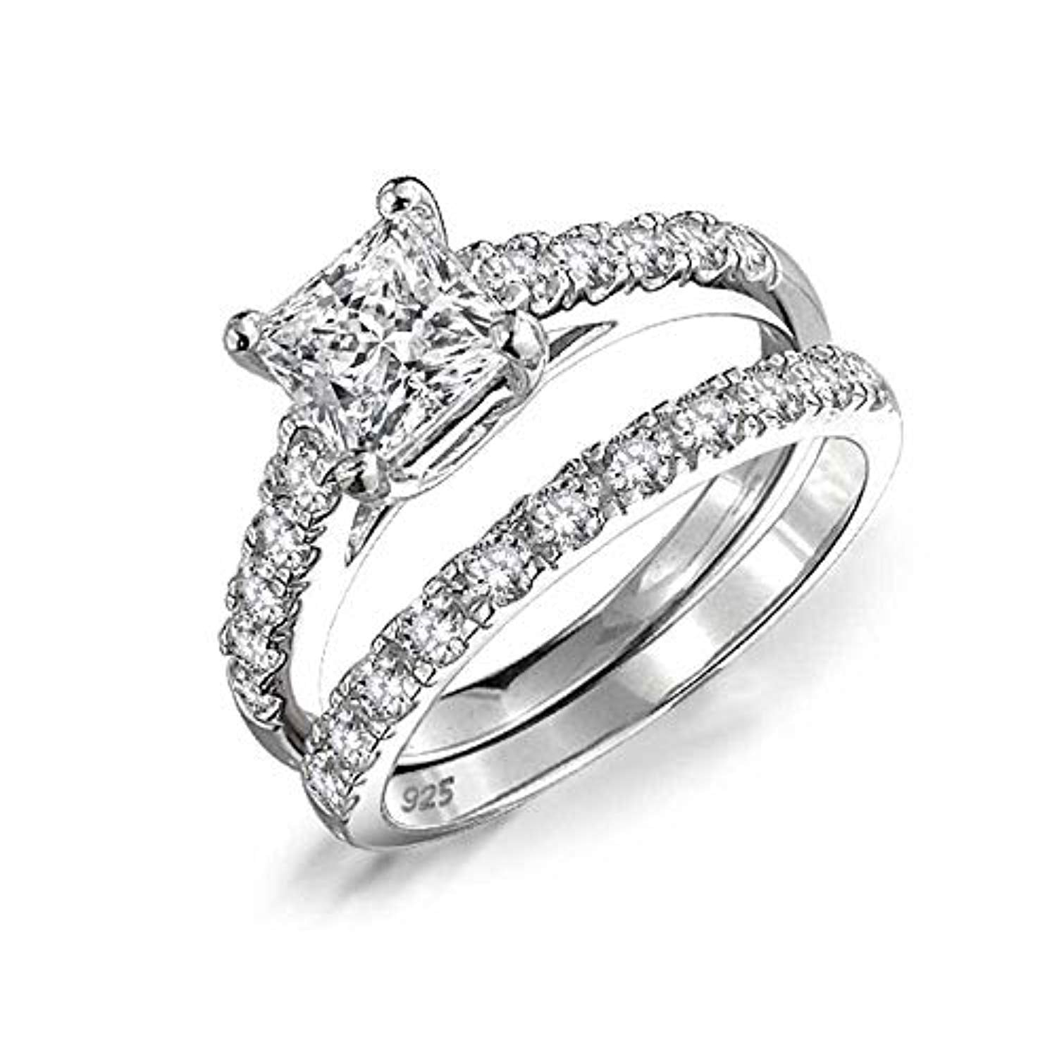 1CT Cubic Zirconia Square Princess Cut Solitaire Thin Pave Band AAA CZ Engagement Wedding Ring Set 925 Sterling Silver
