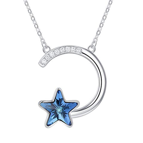 Silver Star and Moon Necklace Star Necklace with Blue Crystal