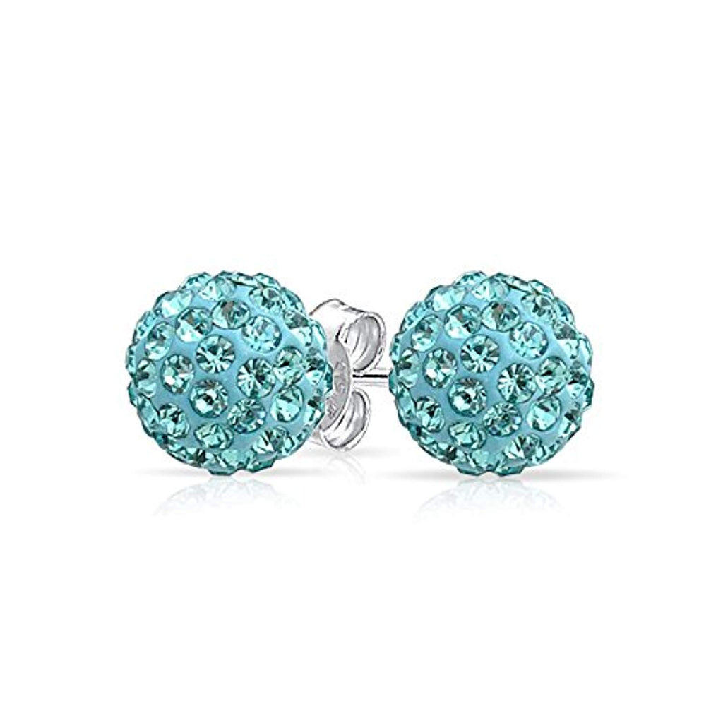 Round Simple Basic Disco Pave Crystal Ball Stud Earrings  925 Sterling Silver