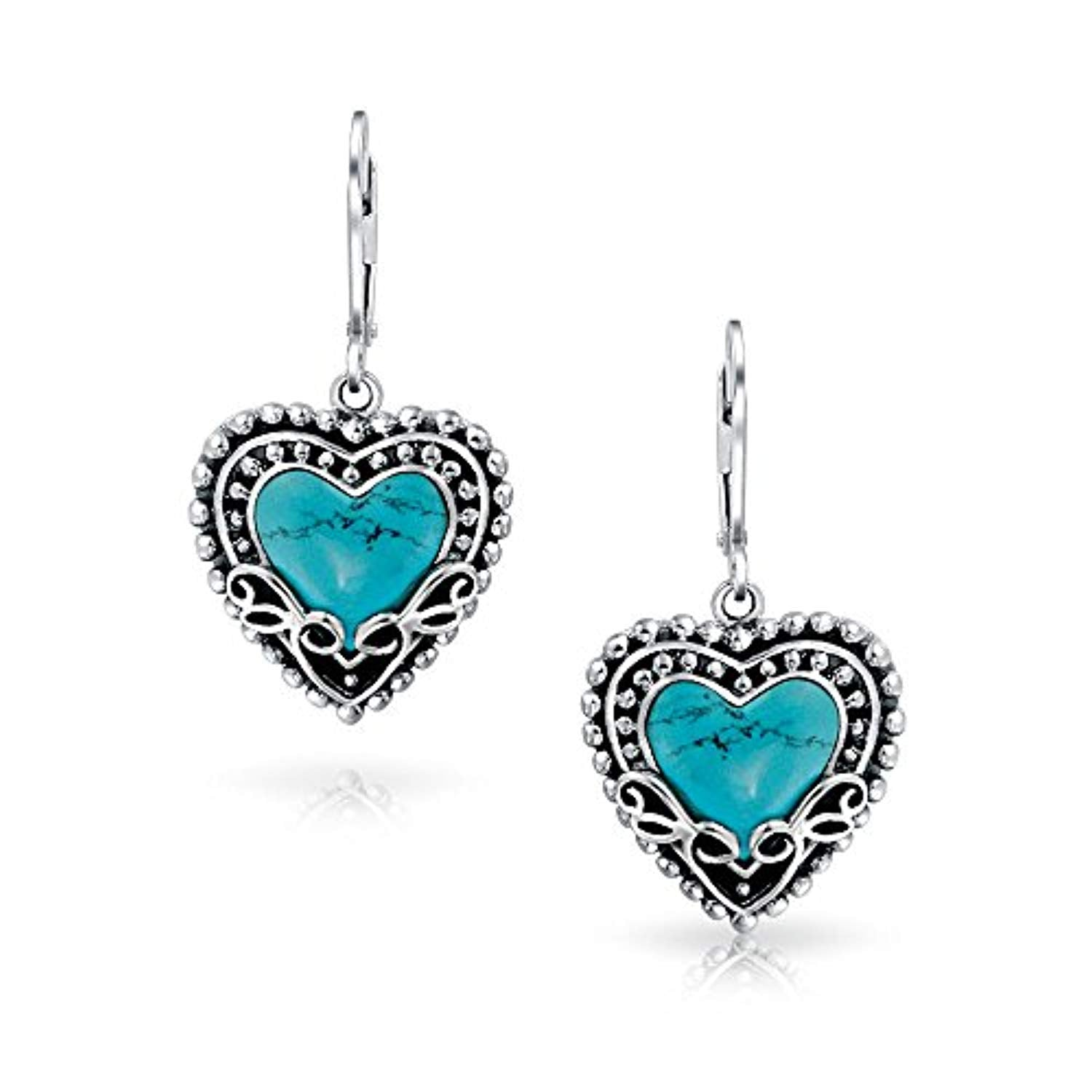 Bali Style Stabilized Turquoise Heart Shape Leverback Drop Earrings For Women Oxidized 925 Sterling Silver