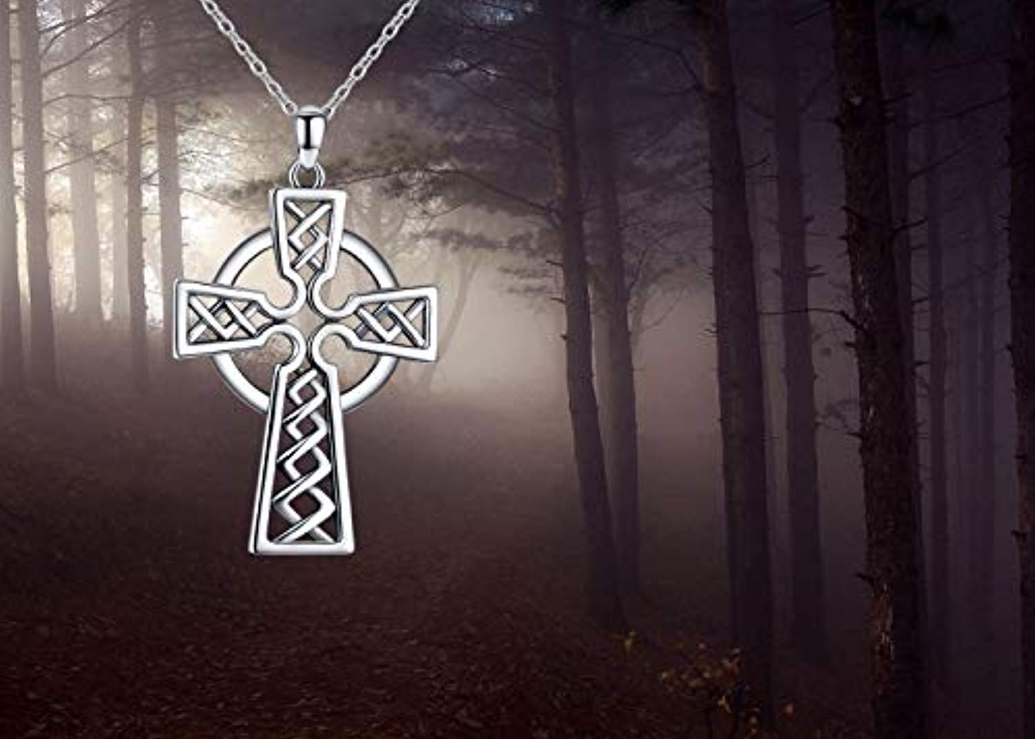 Celtic Knot Cross Necklace for Men 925 Sterling Silver Polished Irish Celtic Jewelry