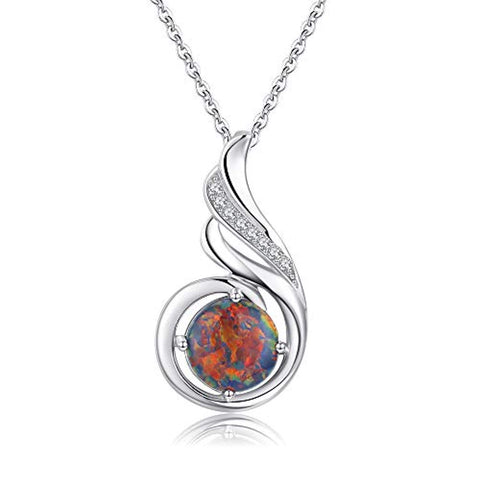 Black Opal Phoenix Necklace 925 Sterling Silver Gifts for Women