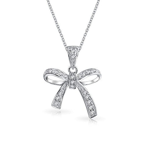 Holiday Bow Ribbon Pendant Pave Clear Cubic Zirconia Pendant Necklace For Women For Teen 925 Sterling Silver