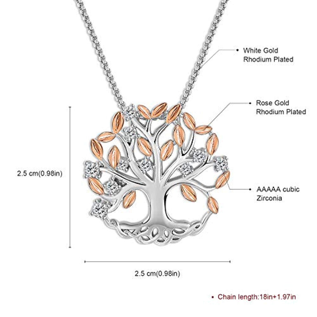 Family Tree of Life Pendant Necklace for Women White Gold Plated Necklace Jewelry with Brilliant Leaves Birthday Gift for Her