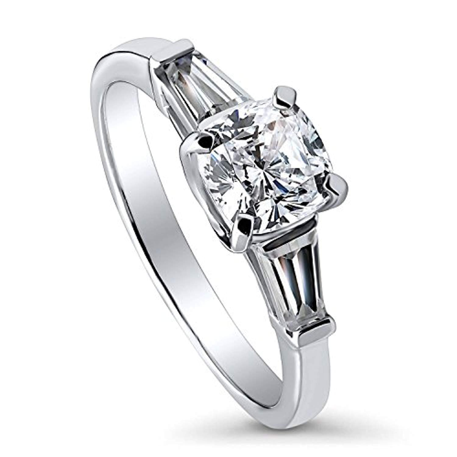 Rhodium Plated Sterling Silver Cushion Cut Cubic Zirconia CZ 3-Stone Anniversary Promise Engagement Ring