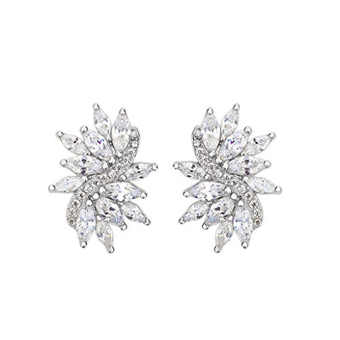 Bridal Floral Leaf Pierced Stud Earrings