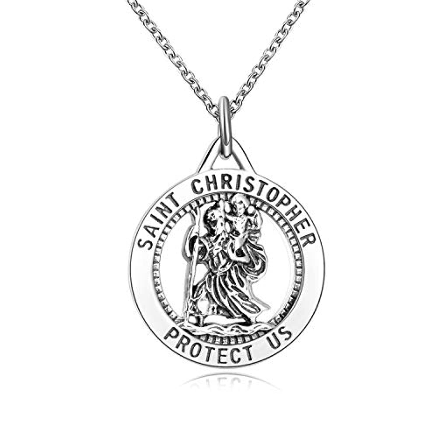 Religious Engraved Medallion Pendant Necklace