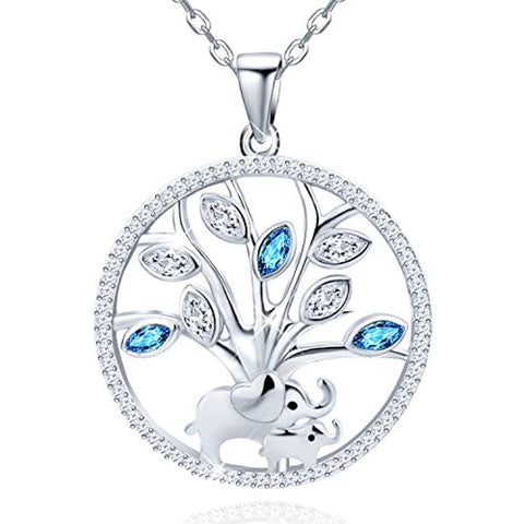 Mother and Child Lovely Elephant Tree of Life Round Pendant
