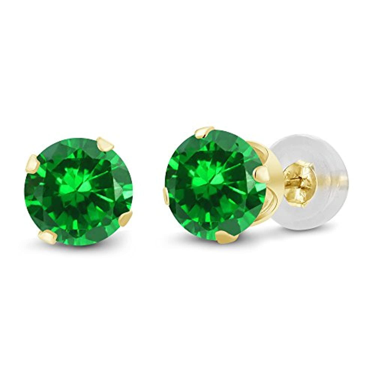 14K  Gold Green Emerald  Stud Earrings
