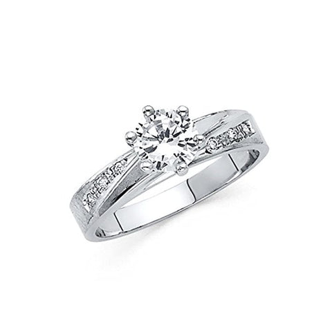Prong Vins With Unique Diamond in 14k White Gold Wedding Engagement Ring