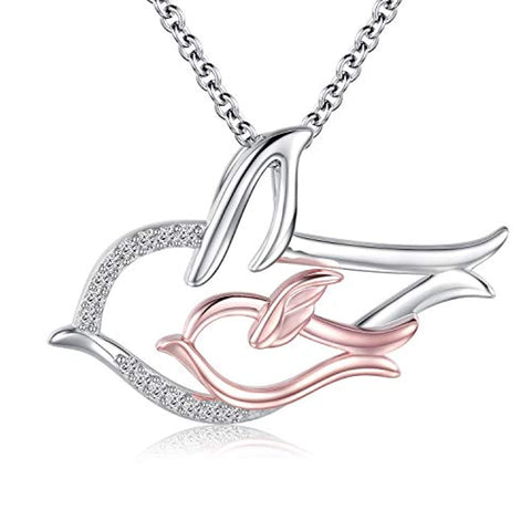 Silver Swallow Bird Pendant Necklace