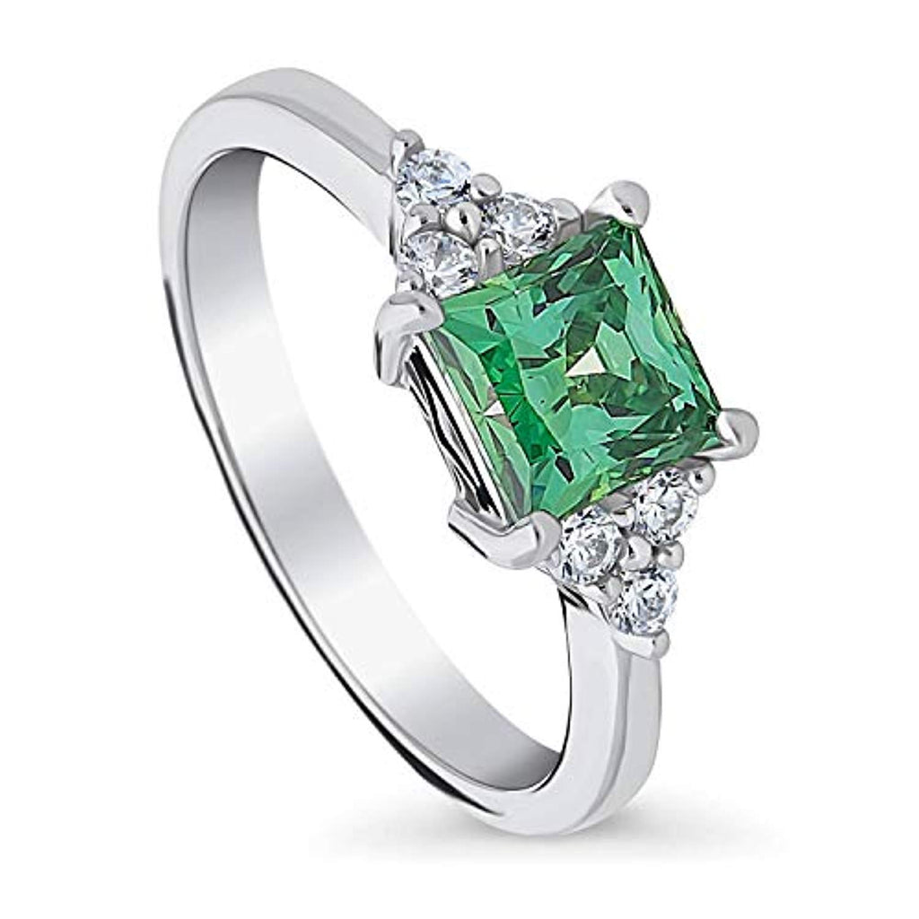 Rhodium Plated Sterling Silver Solitaire Promise Ring Made with Swarovski Zirconia Green Princess Cut