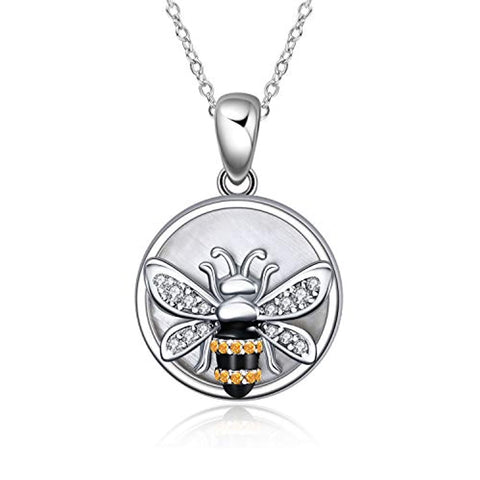 Silver White Shell with Bee Pendant Necklace