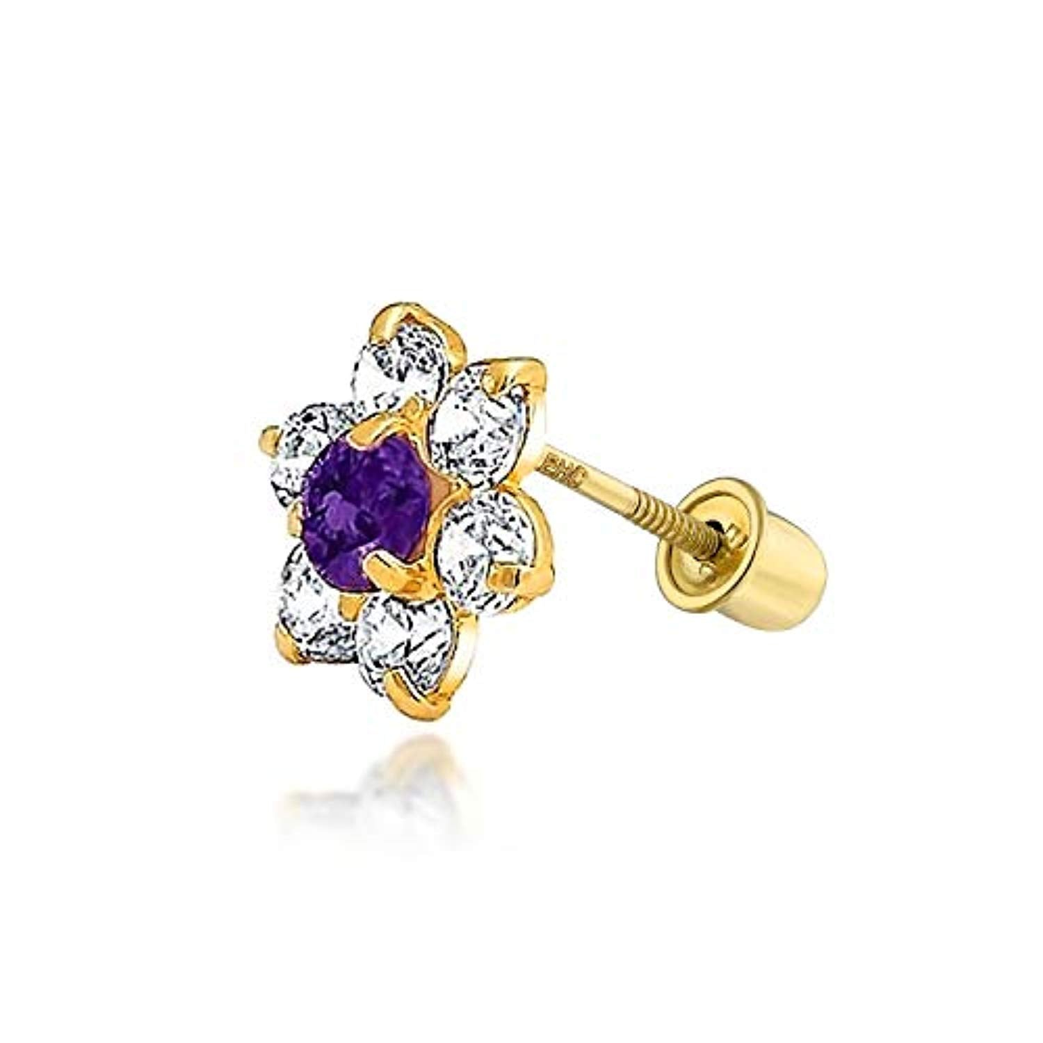 Tiny Cubic Zirconia Flower Shaped Safety Screwback CZ Stud Helix Cartilage Earring Real 14K Solid Gold