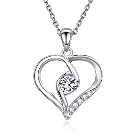 Silver  Love Heart Pendant  Cubic Zirconia  White Gold Plated Necklace