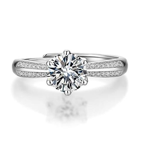 Silver Moissanite 6 Prong Flower  Wedding Engagement Ring