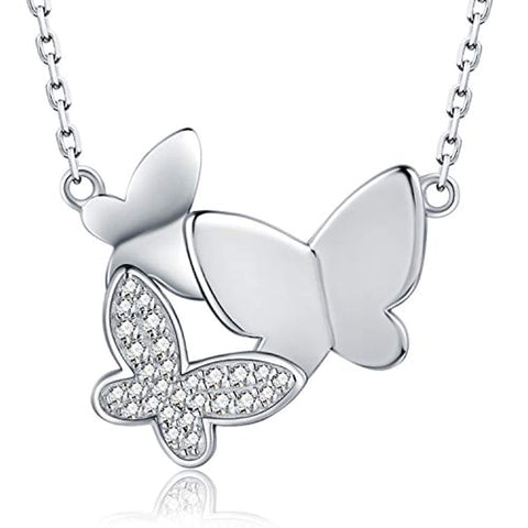 925 Sterling Silver CZ Three Butterfly Necklace Generations Jewelry