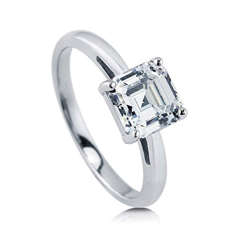 Rhodium Plated Sterling Silver Asscher Cut Cubic Zirconia CZ Solitaire Engagement Ring