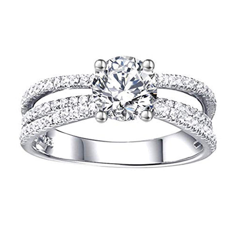 14K White Gold 1ct Moissanite Diamond Engagement Ring