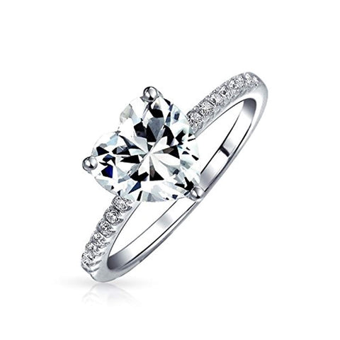 2.5CT Heart Shape Solitaire AAA CZ Engagement Ring For Women Thin Band Cubic Zirconia 925 Sterling Silver Promise Ring