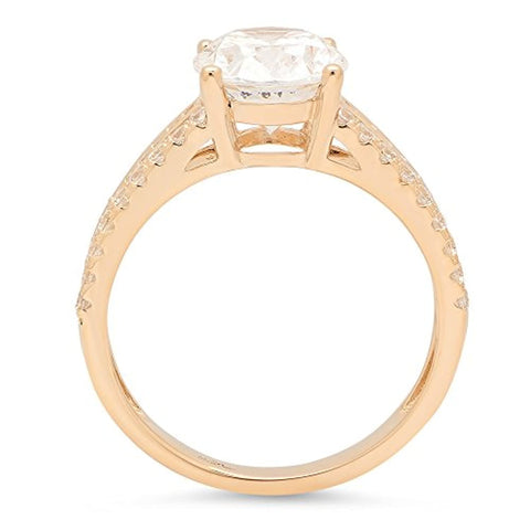 2.30 ct Brilliant Solitarie Engagement Wedding Promise Anniversary Ring 14K Yellow Gold