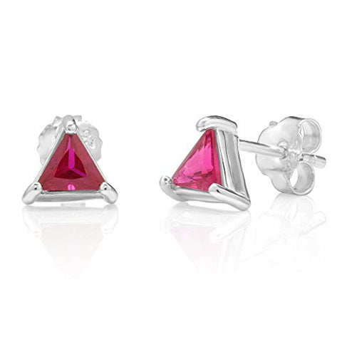 925 Sterling Silve Fuchsia Pink Crystal Triangle Small Post Stud Earrings