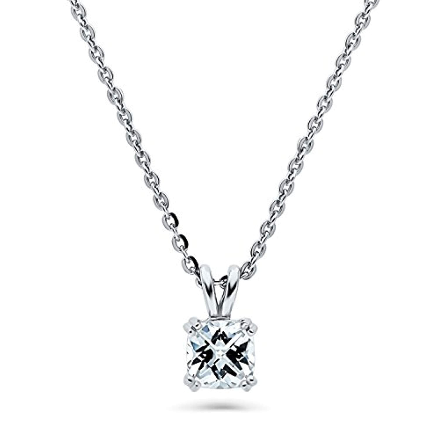 Rhodium Plated Sterling Silver Solitaire Anniversary Wedding Pendant Necklace Made with Swarovski Zirconia Checkerboard Cushion Cut