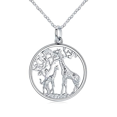 Giraffe Jewelry for Women,Elegant Giraffe Necklace 925 Sterling Silver Tree of Life Necklace Forever Love Family Necklace Gift for Women