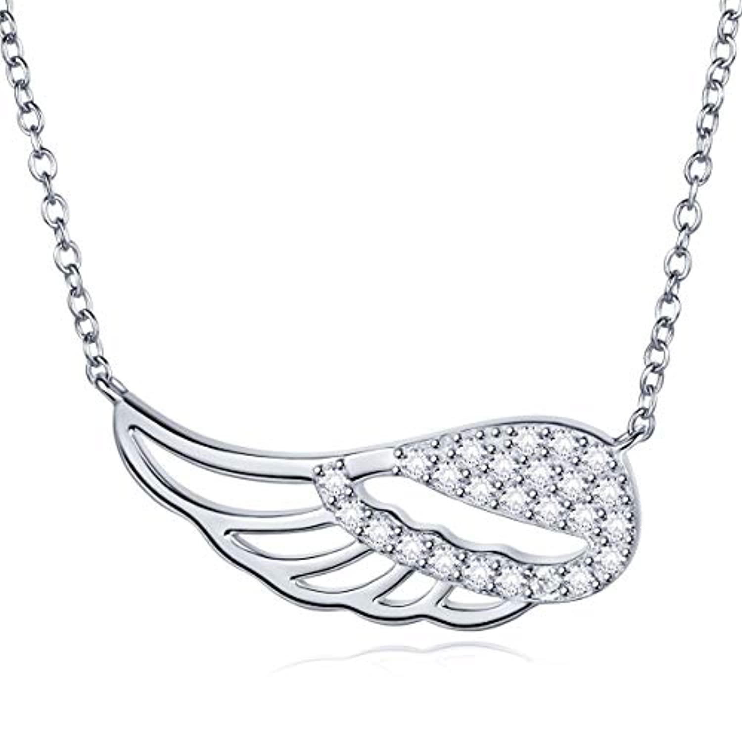 Silver Necklace for Women CZ wing of angel Dainty  Pendant Necklace Adjustable Gift for Valentine's Day or Anniversary