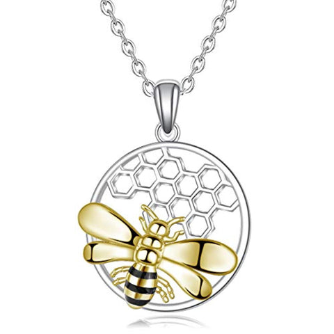 S925 Sterling Silver Bee Necklace Your Love Honeybee Nature Pendant Necklaces