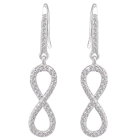 8-Shaped Infinity Bling Bridesmaid Hook Earrings