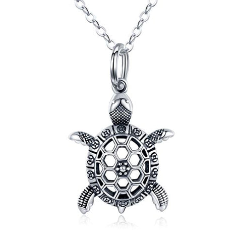 Silver Cute Vintage Sea Turtle Pendant Necklace