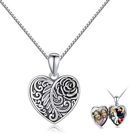 Silver Oxidized Rose Flower Pendant Heart Locket Necklaces