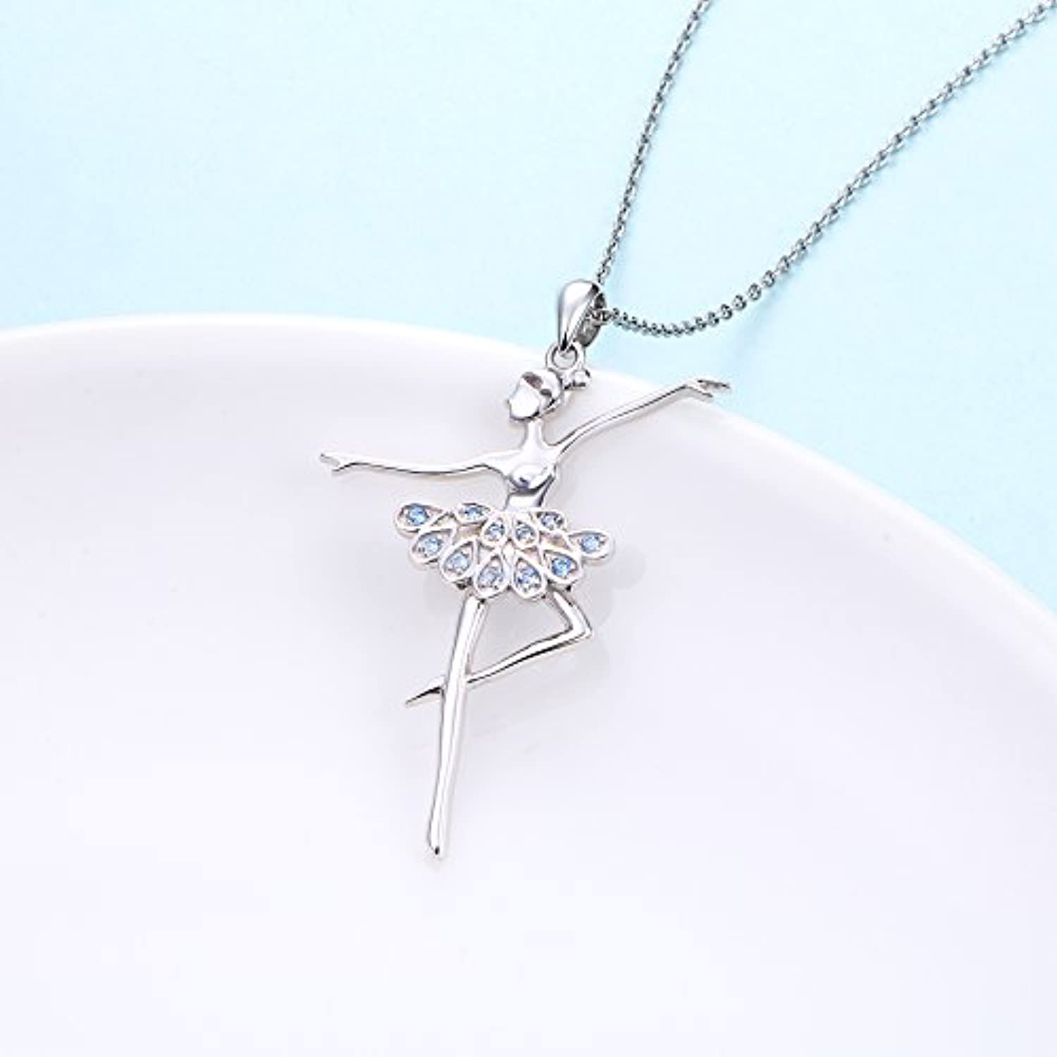 925 Sterling Silver Dancing Ballerina Dancer Ballet Dance Pendant Necklace Recital Gift for Teen Girls Women,18