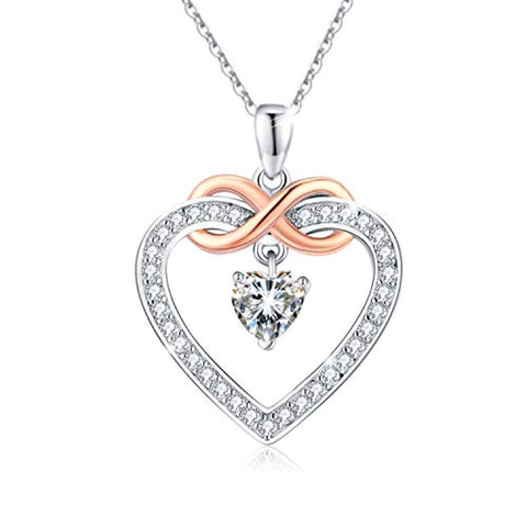 Silver Love Heart Infinity Pendant Necklace