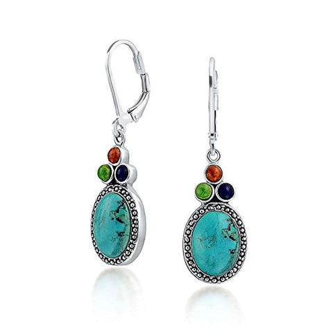 Southwestern Style Stabilized Turquoise Oval Lapis Coral Lever Back Dangle Drop Earrings For Women 925 Sterling Silver
