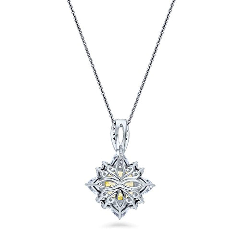 Rhodium Plated Sterling Silver Canary Yellow Cushion Cut Cubic Zirconia CZ Halo Flower Anniversary Wedding Pendant Necklace