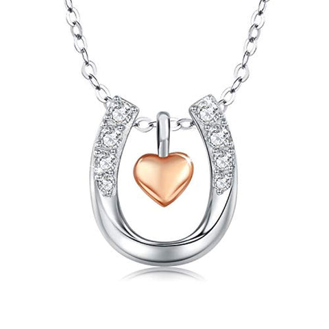 Silver Rose Gold Heart Horseshoe Pendant Necklace