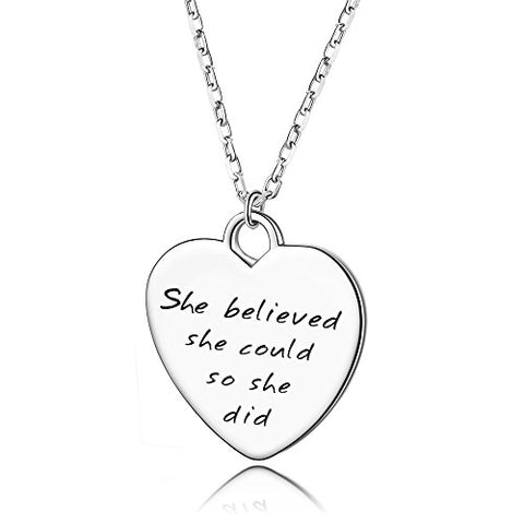 925 Sterling Silver Heart Necklace Inspirational Pendant Engraved She Believed She Could So She Did Friendship Gift